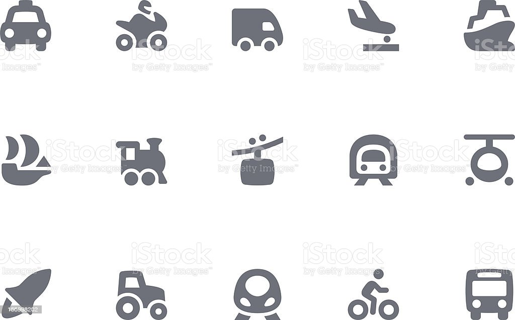 Icons of transportation on white background royalty-free stock vector art