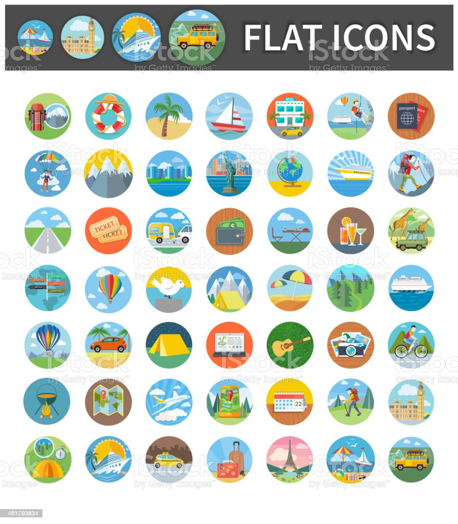 Icons of Traveling, Vacation, Tourism, Journey vector art illustration