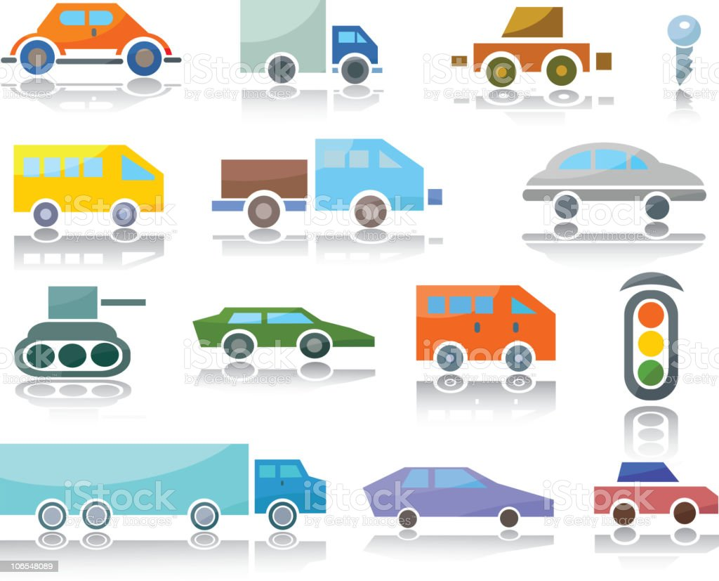 Icons of vehicles royalty-free stock vector art