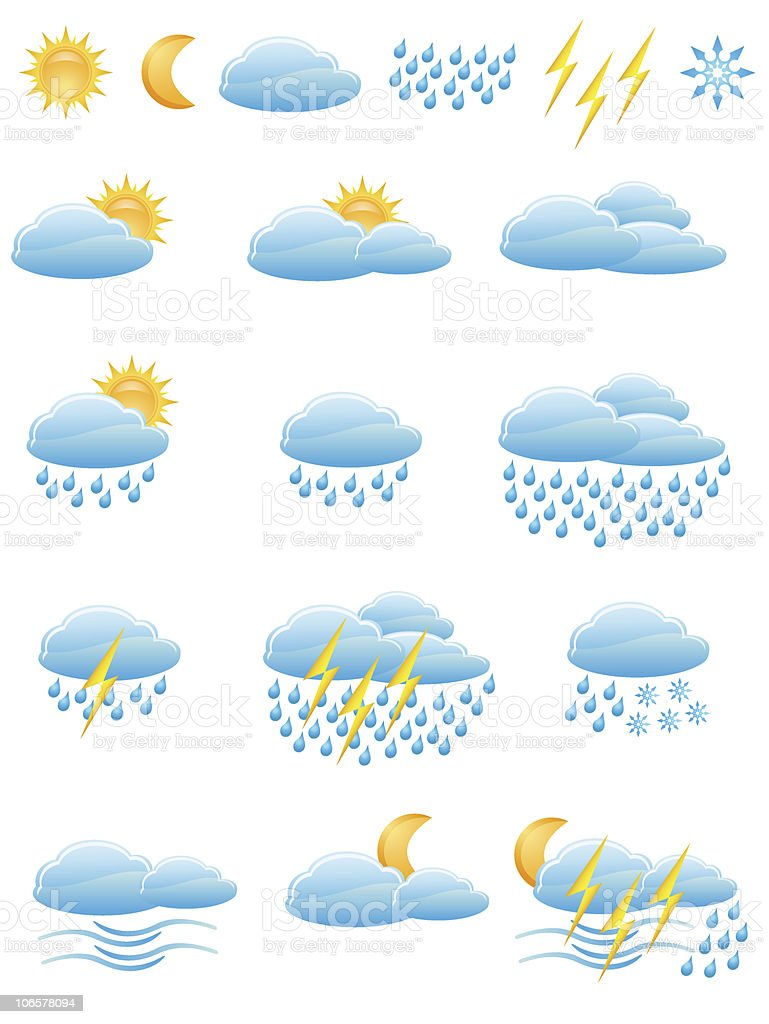 icons of weather vector illustration royalty-free stock vector art