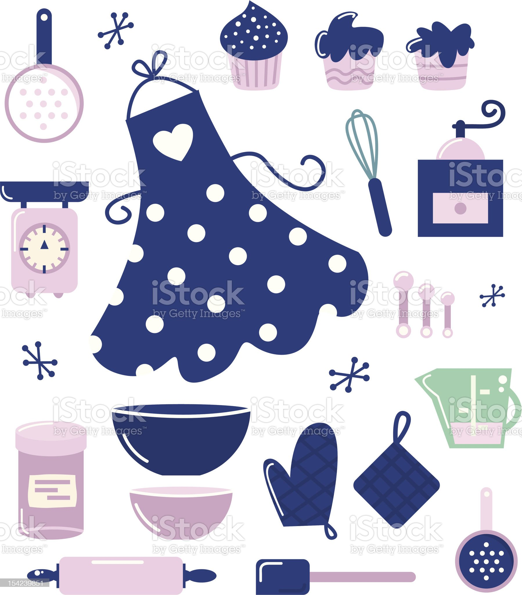 Icons or accessories for housewife isolated on white royalty-free stock vector art