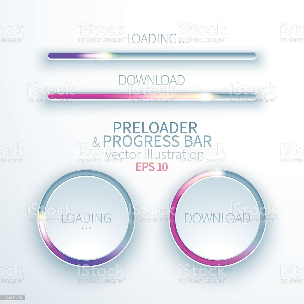Icons preloaders and progress bars for loading items vector art illustration