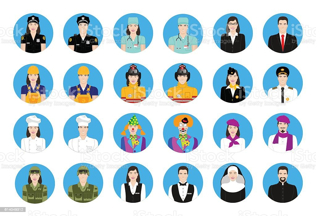 Icons profession set vector art illustration