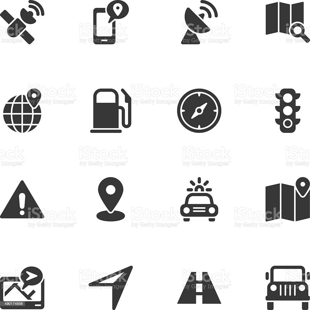 GPS icons - Regular vector art illustration