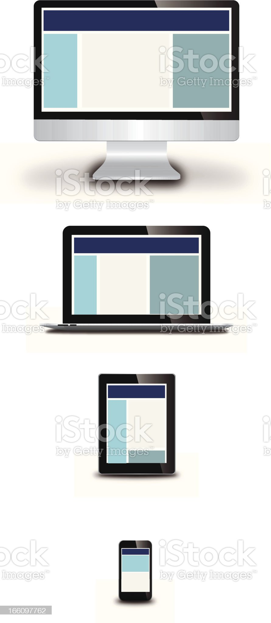 Icons representing responsive web design on various devices royalty-free stock vector art