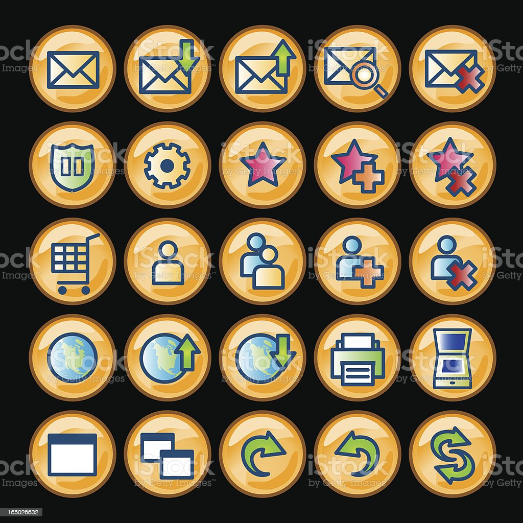Icons (gold)  - set 2 royalty-free stock vector art