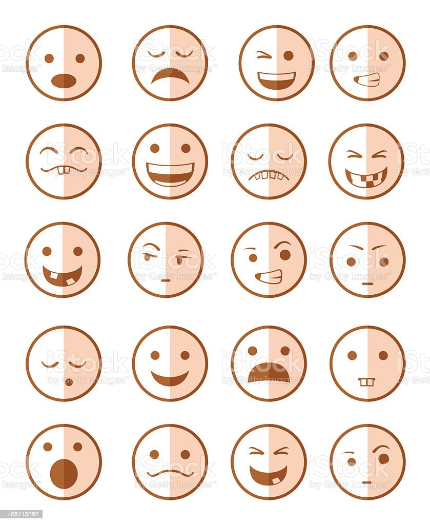 icons set 20 emotional smiles red vector art illustration