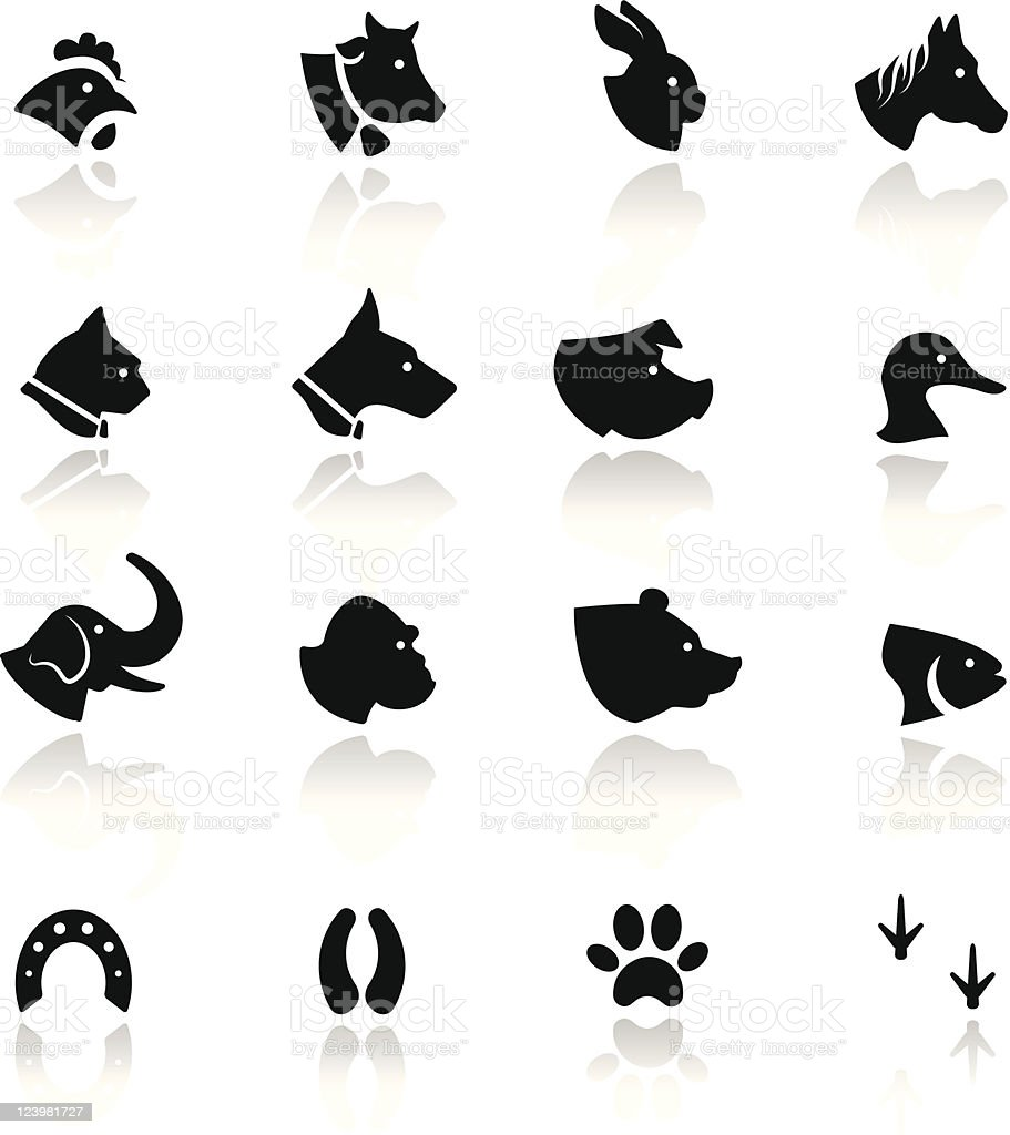 Icons set Animals vector art illustration