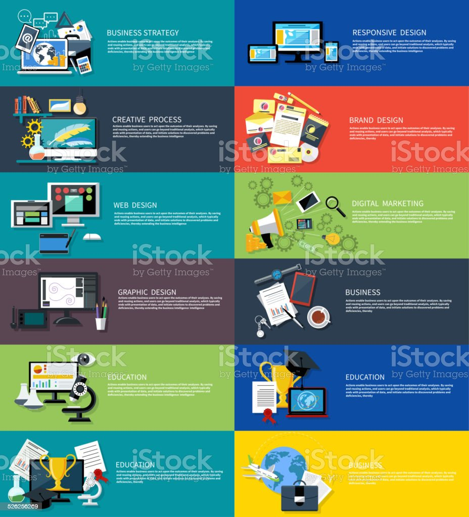 Icons set banners for business graphic vector art illustration