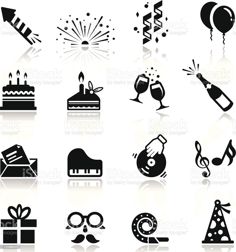 Icons set Birthday and celebration vector art illustration