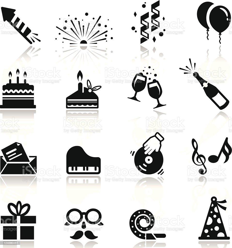 Icons set Birthday and celebration vector art illustration