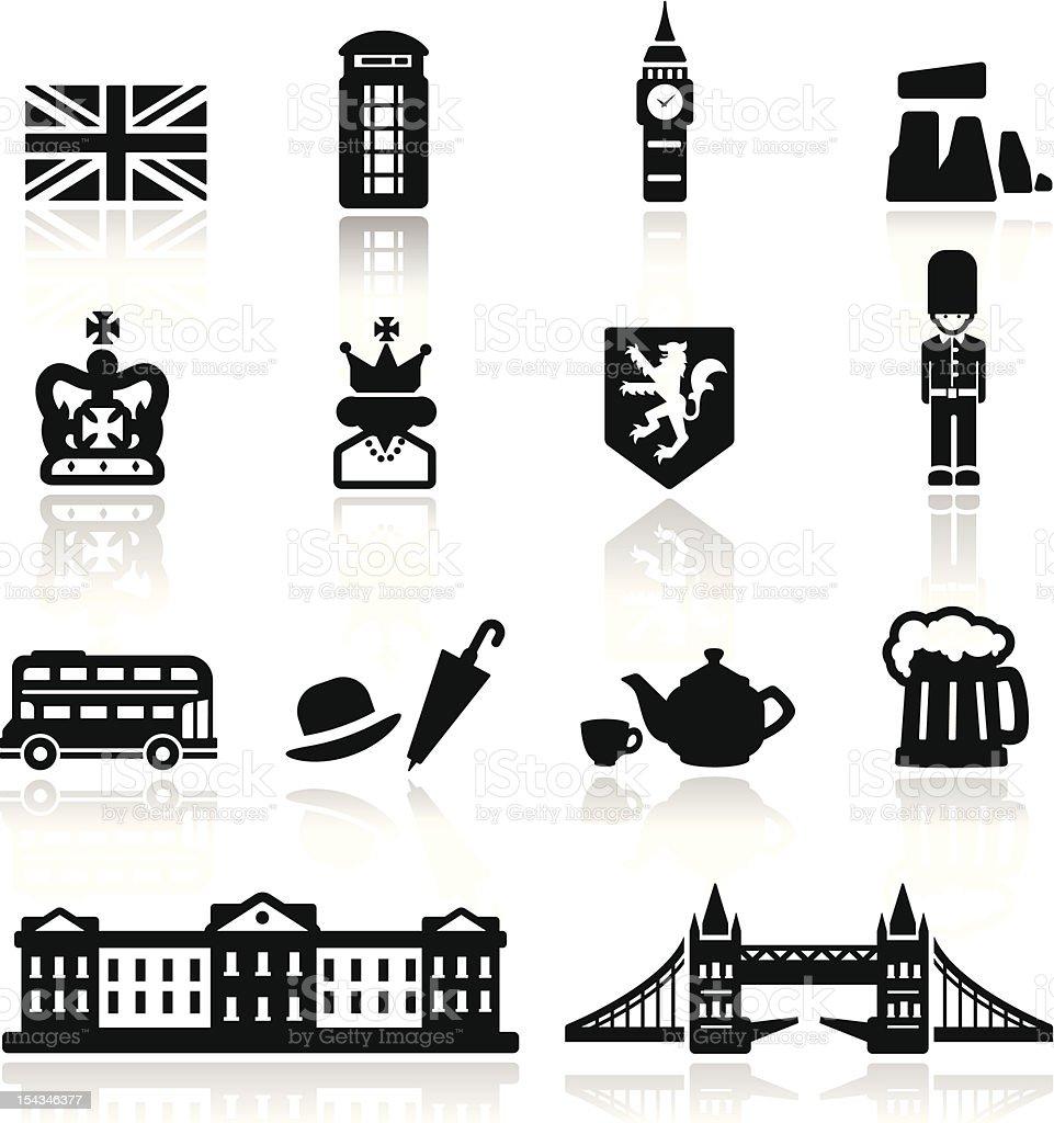 Icons set British Culture vector art illustration