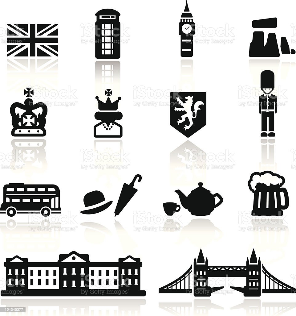 Icons set British Culture vector art illustration