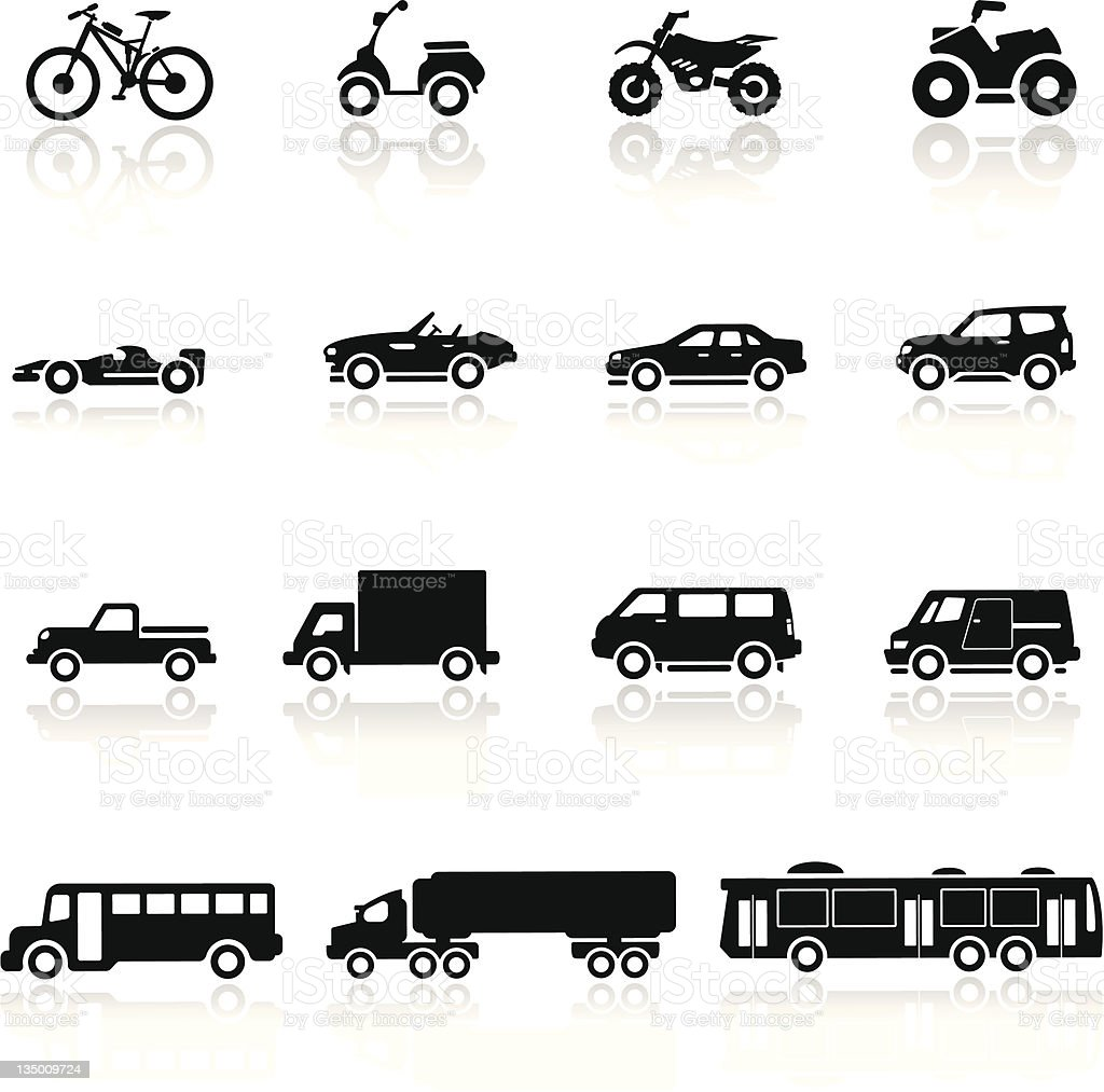 Icons set cars collection vector art illustration