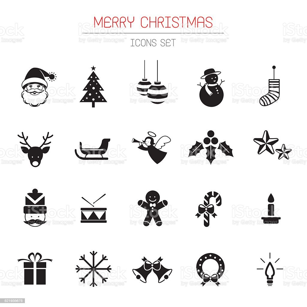 B&W Icons Set : Christmas Objects vector art illustration