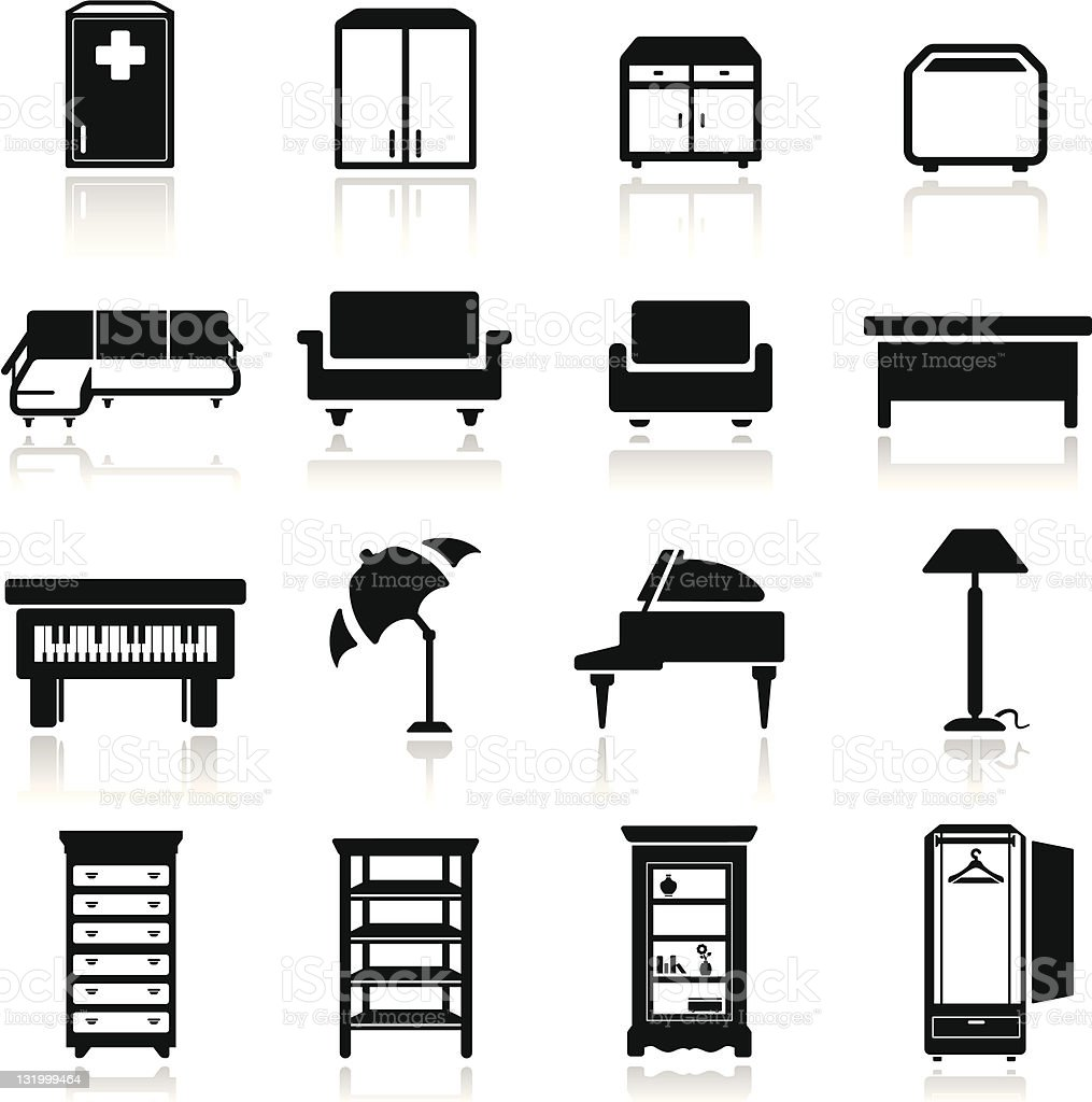 Icons set classic furniture royalty-free stock vector art