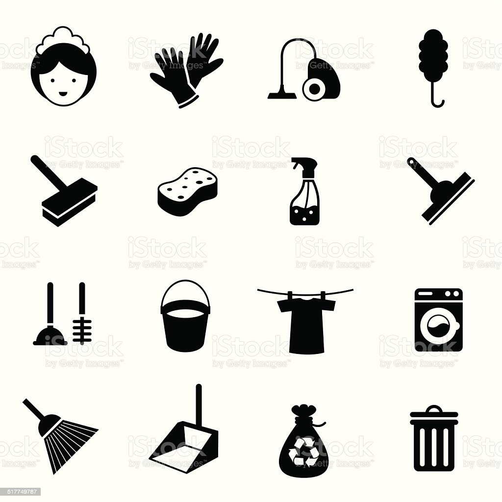 B&W icons set : Cleaning Objects vector art illustration