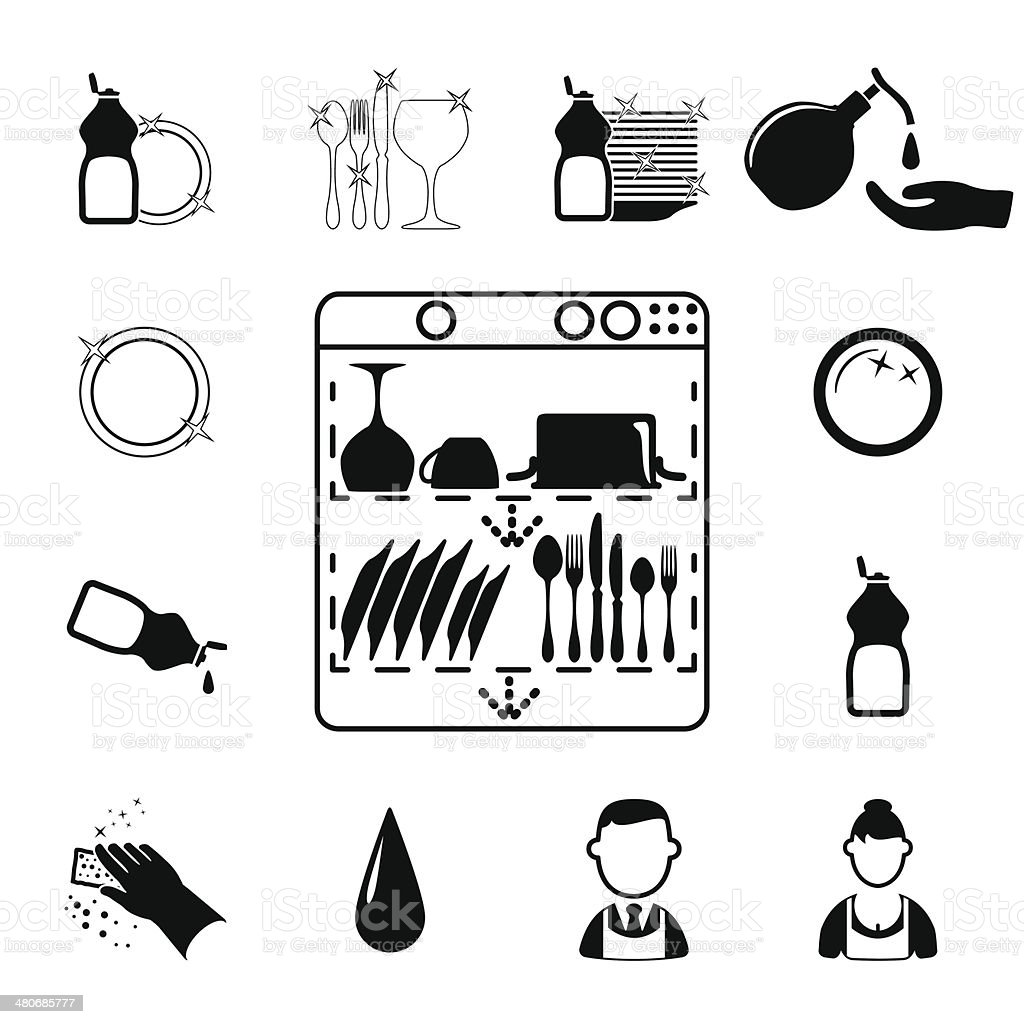 Icons set Cleaning vector art illustration