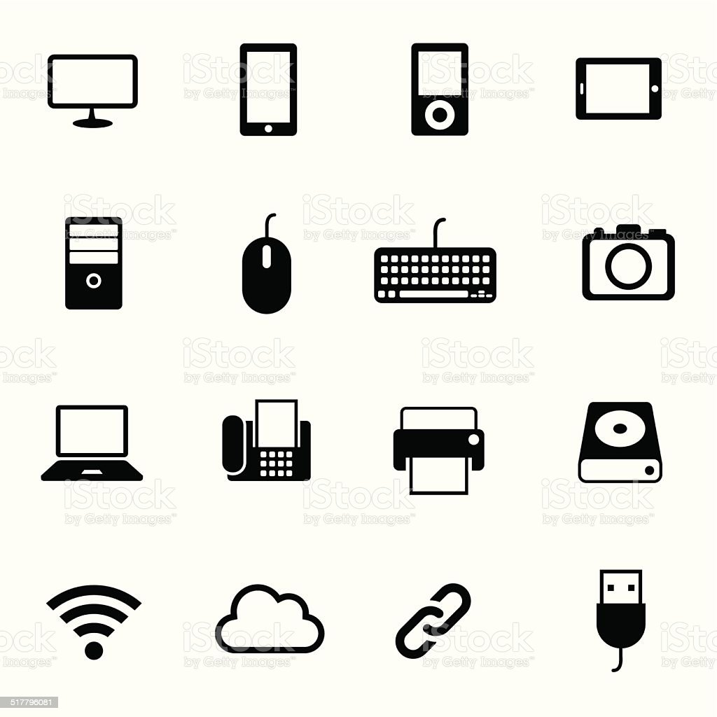 B&W icons set : Computer, Office Objects vector art illustration