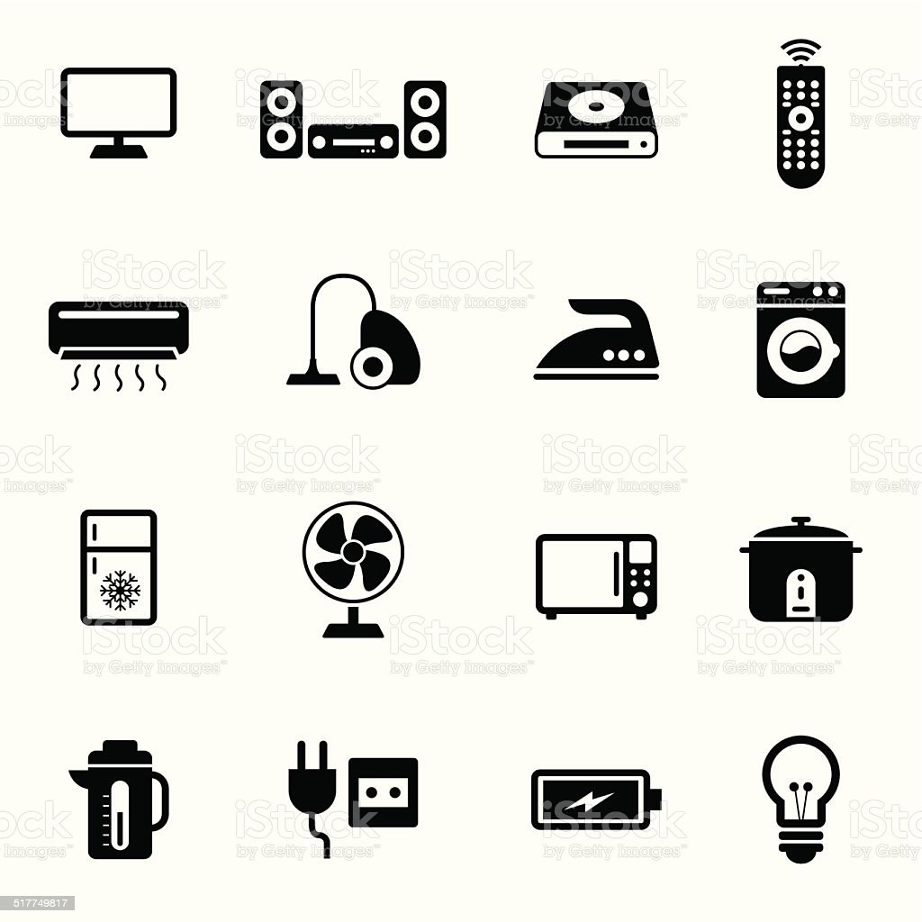 B&W icons set : Electronic Objects vector art illustration