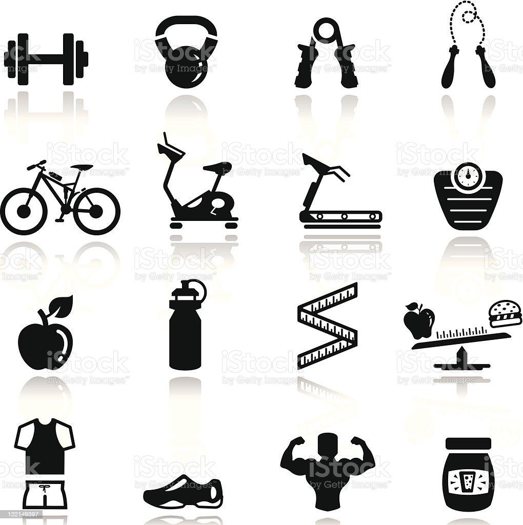 Icons set Fitness vector art illustration