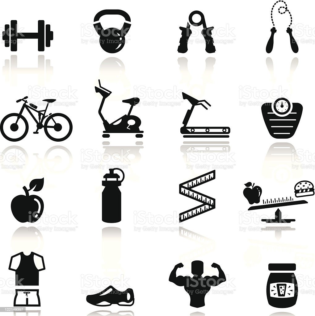 Icons set Fitness vector art illustration