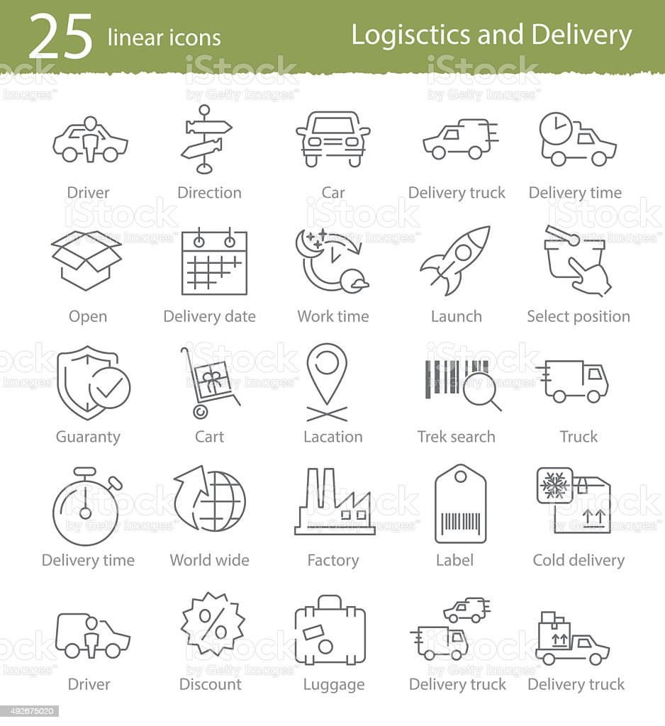 Icons set for shipping and delivery vector art illustration