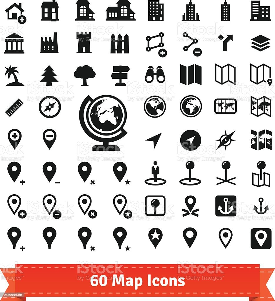 Icons set for use in internet map services vector art illustration