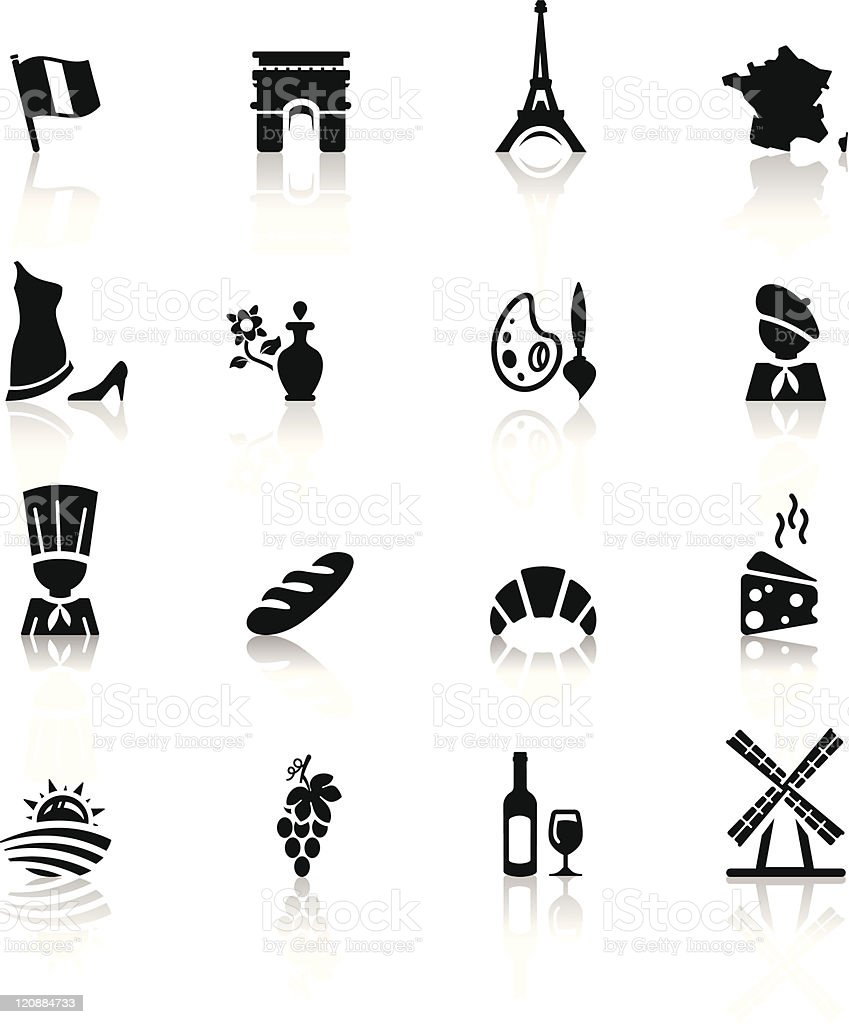 Icons set French Cuisine and culture vector art illustration