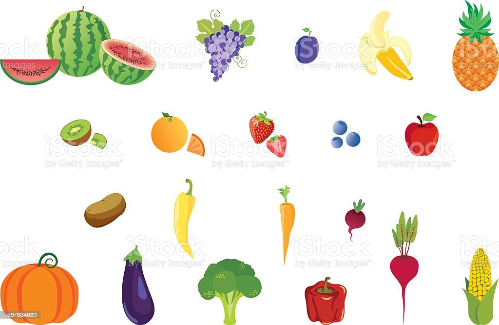 Icons set fruits and vegetables vector art illustration