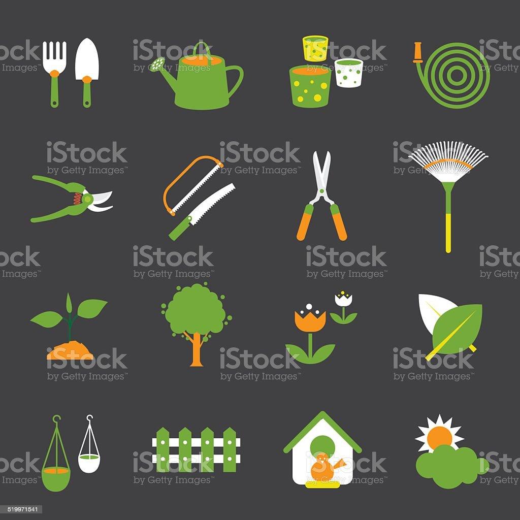 Icons set : Garden Object vector art illustration
