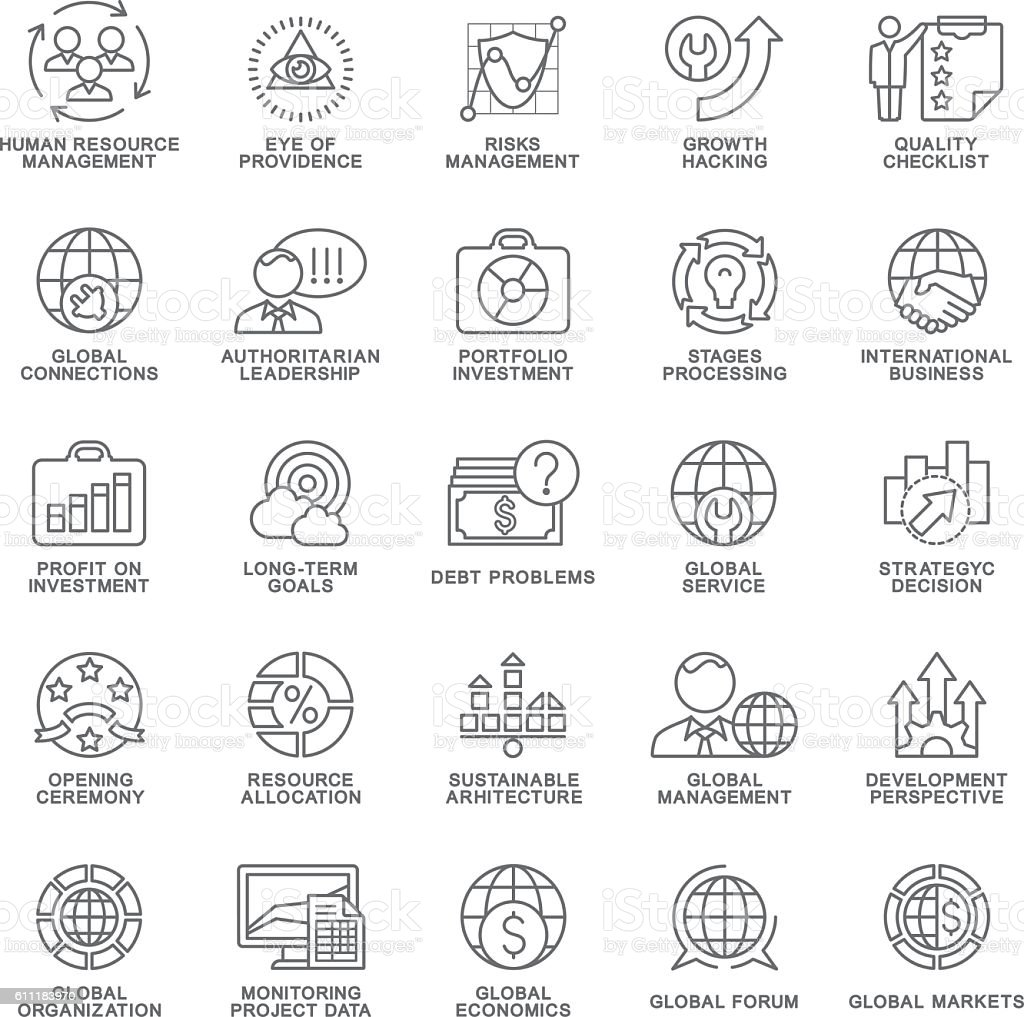 Icons set global business, economics, marketing. The thin contour lines. vector art illustration