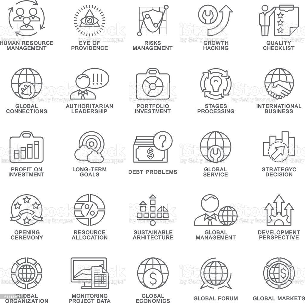 Icons set global business, economics, marketing. The thin contour lines. vector art illustration