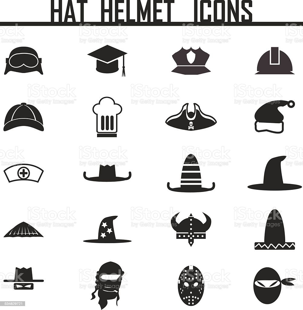 Icons set hats vector art illustration