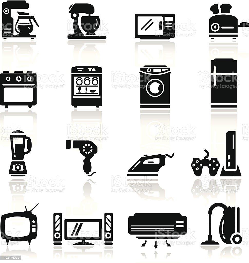 Icons set home appliances vector art illustration