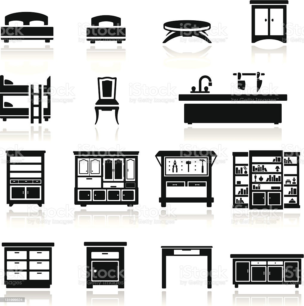 Icons set home furniture vector art illustration