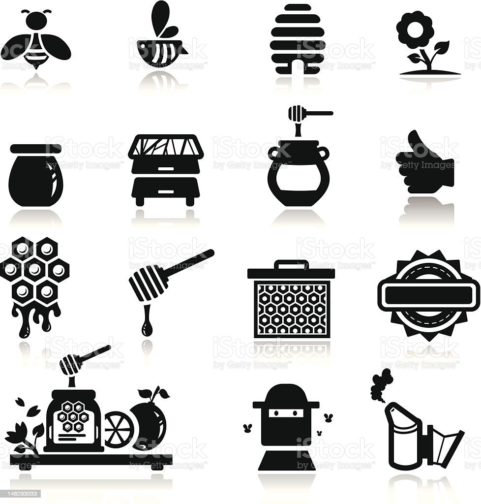 Icons set Honey vector art illustration