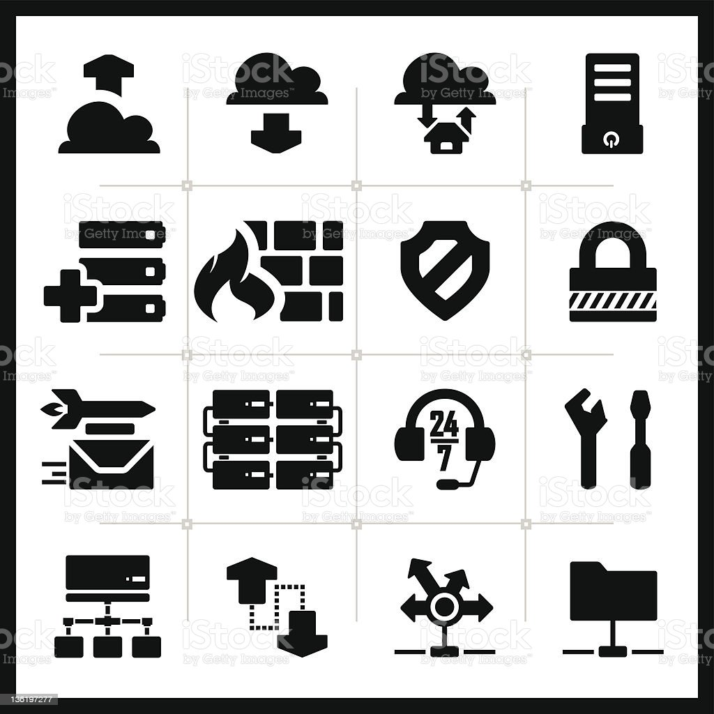 Icons set hosting – square series royalty-free stock vector art