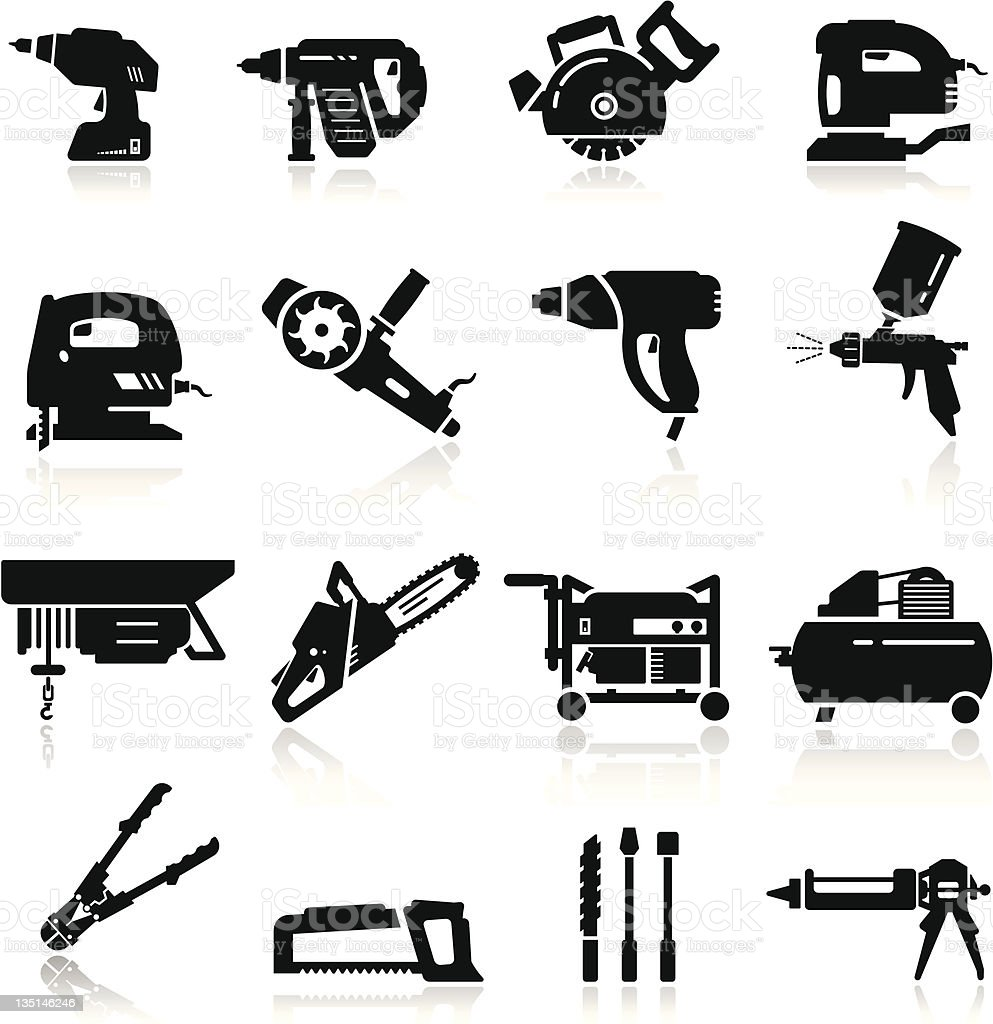 Icons set Industrial Tools vector art illustration