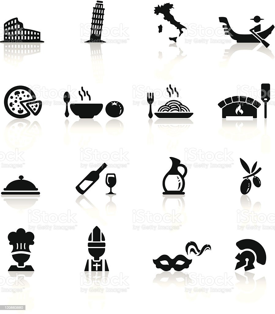 Icons set Italian Cuisine and culture vector art illustration