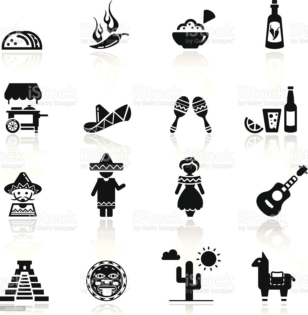 Icons set Mexican culture and cuisine vector art illustration