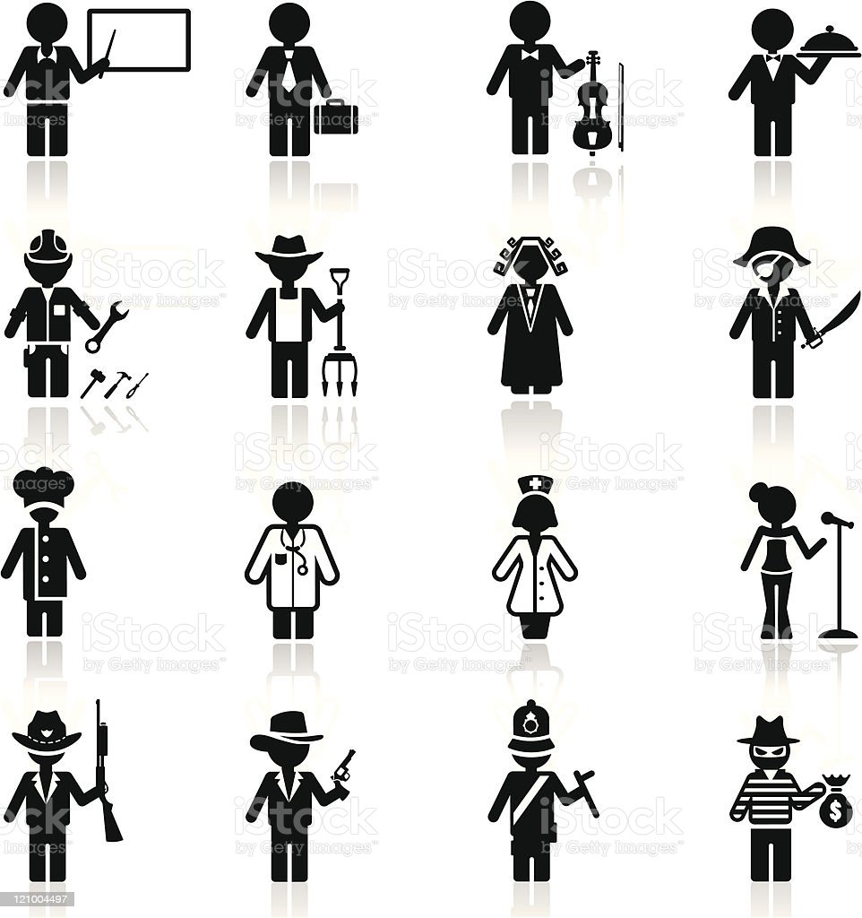 Icons set occupation and career vector art illustration