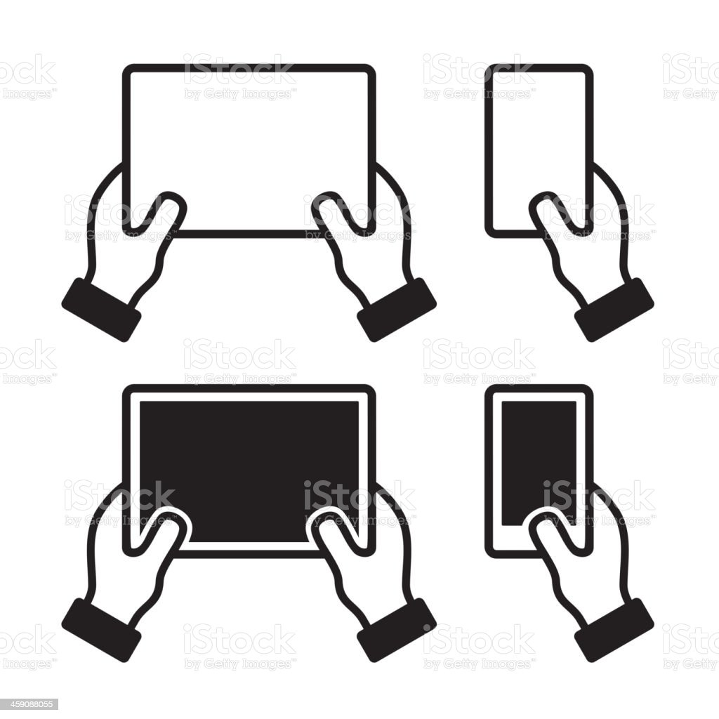 Icons set of hands holding smart phone and tablet royalty-free stock vector art