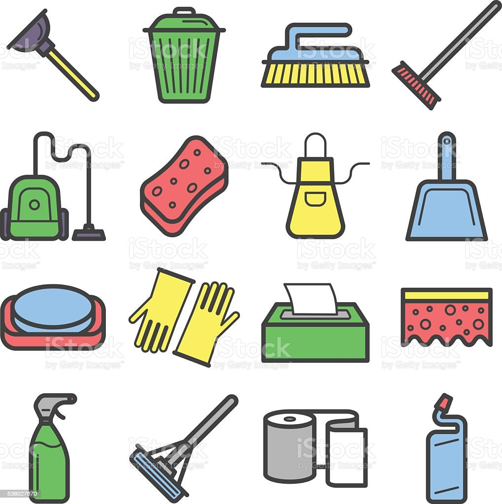 Icons set of home cleaning tools. vector art illustration