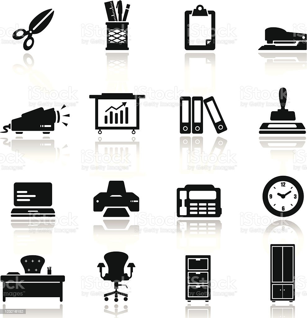 Icons set Office equipment and furniture royalty-free stock vector art