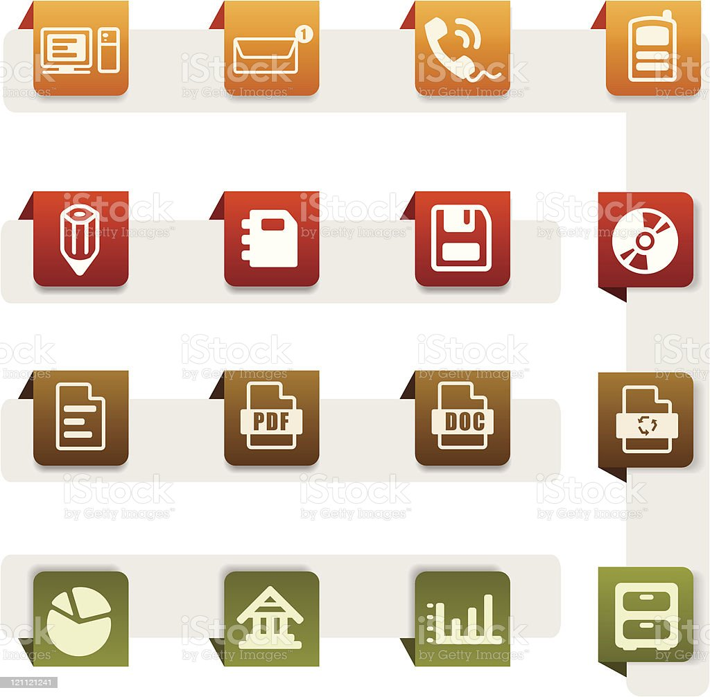 Icons set office – tag series royalty-free stock vector art