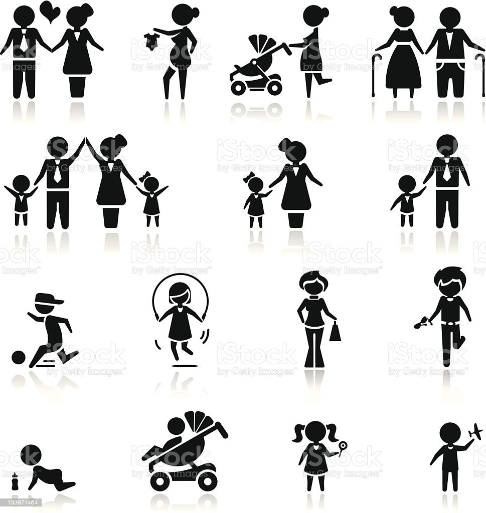 Icons set people and family vector art illustration