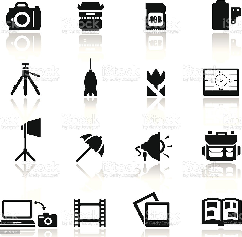 Icons set photography vector art illustration