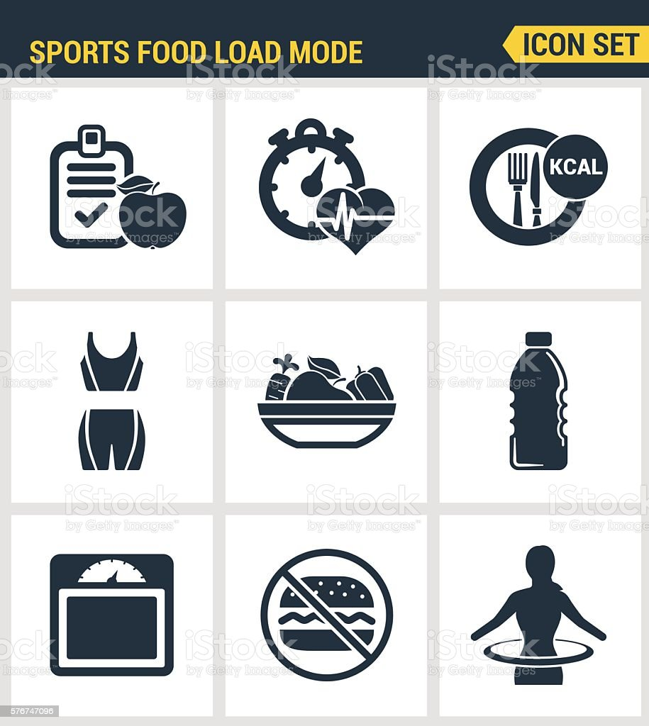 Icons set premium quality of fitness icon. Sports food load vector art illustration