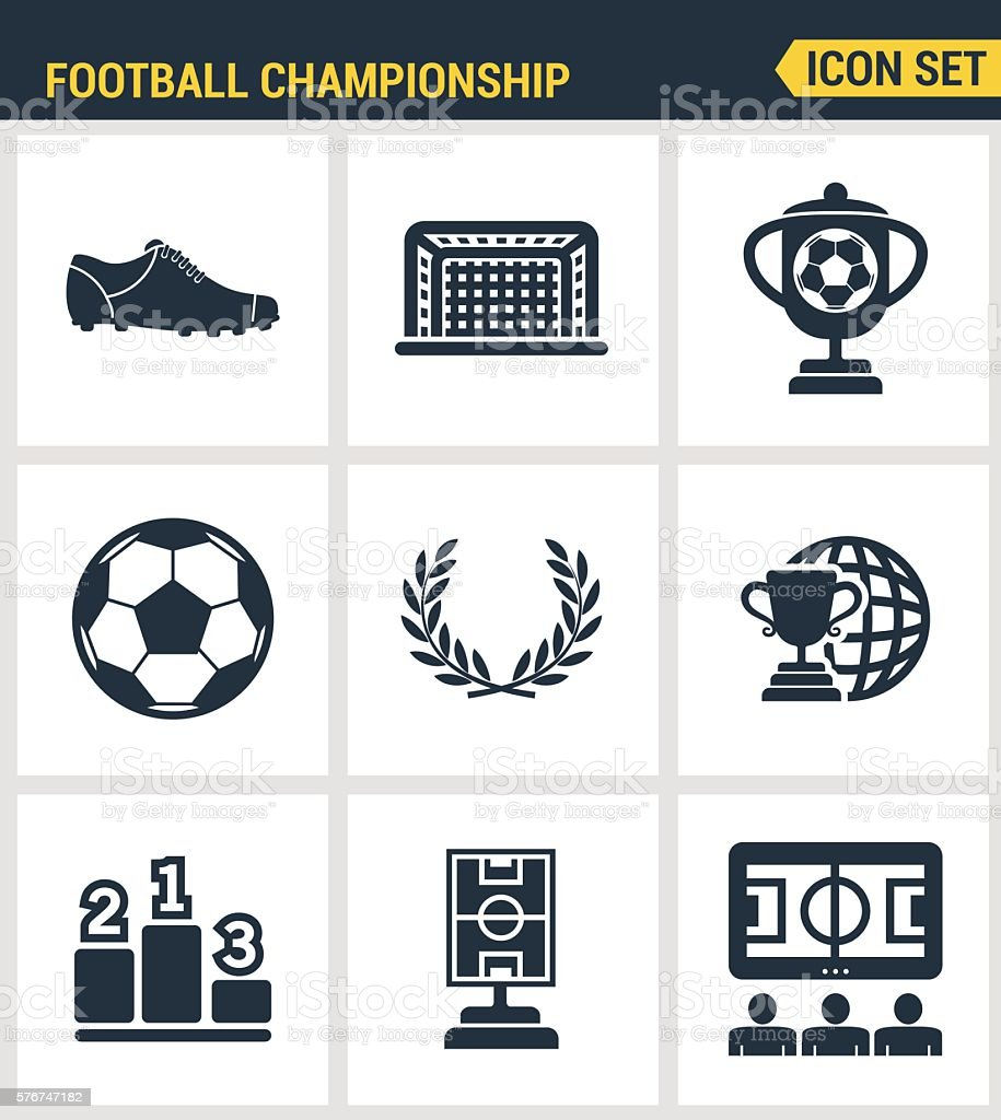Icons set premium quality of football championship soccer game world vector art illustration